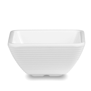 Melamine Square Ribbed Ramekin White 3oz