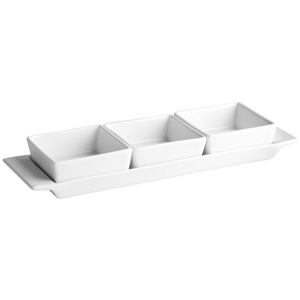 Moonlight Rectangular Tray with 3 Serving Dishes