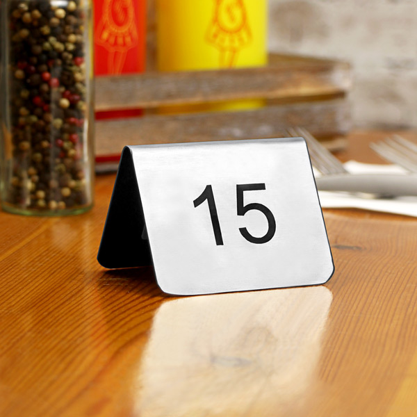 Stainless Steel Tent Style Table Numbers Set - Stainless steel table numbers