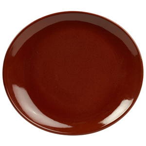Rustic Oval Plate Red 29.5 x 26cm