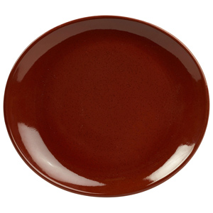 Rustic Oval Plate Red 25 x 22cm