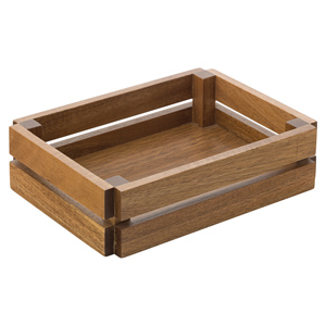 "Acacia Food Presentation Crate 8.75"" x 6.25"" (Case of 6)"