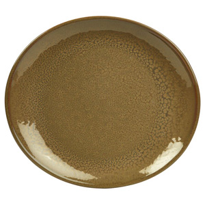 Rustic Oval Plate Brown 25 x 22cm