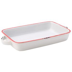 "Avebury White & Red Large Rectangular Dish 8.5"" / 22cm"