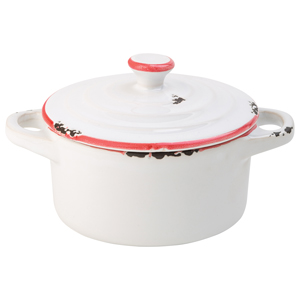 Avebury White & Red Mini Casserole Dish 4inch / 10.5cm