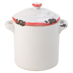 Avebury White & Red Mini Pot 2.25inch / 6cm