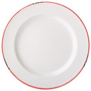 Avebury White & Red Rim Plate 10inch / 26cm