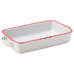 """Avebury White & Red Small Rectangular Dish 6.75"""" / 17.5cm"""
