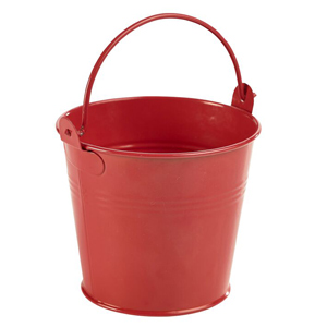 Genware Galvanised Steel Serving Bucket Red 10cm