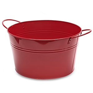 Round Steel Party Tub Red 36cm