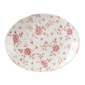 Churchill Vintage Prints Cranberry Rose Chintz Oval Plate 12.5inch / 31.7cm
