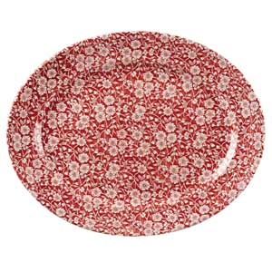 Churchill Vintage Prints Cranberry Victorian Calico Oval Dish 14.5inch / 36.5cm
