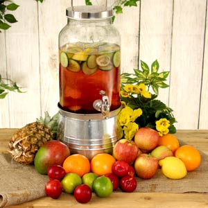 Mason Jar Drinks Dispenser with Ice Bucket Stand 5ltr
