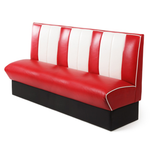 Retro Diner Booth Triple Seat Red