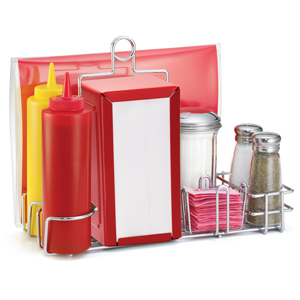 Diner Condiment Rack Set Red