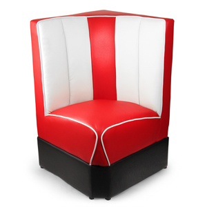 Retro Diner Booth Corner Seat Red