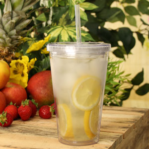 Insulated Reusable Plastic Tumbler with Lid and Straw 16oz / 470ml
