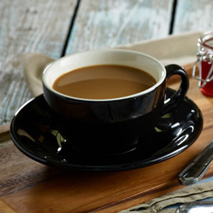 Royal Genware Black Bowl Shaped Cup and Saucer 12oz / 340ml