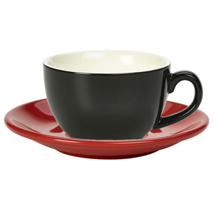 Royal Genware Black Bowl Shaped Cup and Red Saucer 12oz  340ml (Pack of 6)