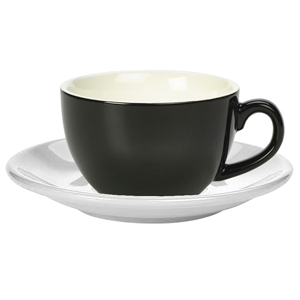 Royal Genware Black Bowl Shaped Cup and White Saucer 12oz / 340ml