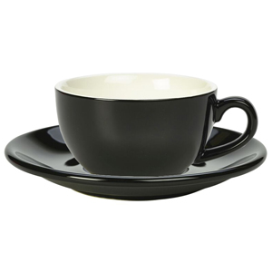 Royal Genware Black Bowl Shaped Cup and Black Saucer 8.8oz / 250ml