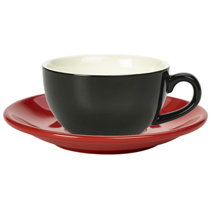 Royal Genware Black Bowl Shaped Cup and Red Saucer 8.8oz  250ml (Pack of 6)