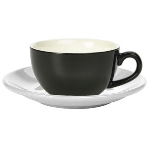 Royal Genware Black Bowl Shaped Cup and White Saucer 8.8oz / 250ml