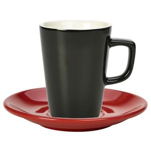 Royal Genware Black Latte Mug and Red Saucer 12oz / 340ml