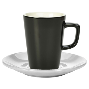 Royal Genware Black Latte Mug and White Saucer 12oz / 340ml