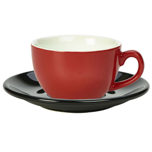 Royal Genware Red Bowl Shaped Cup and Black Saucer 12oz  340ml (Set of 6)