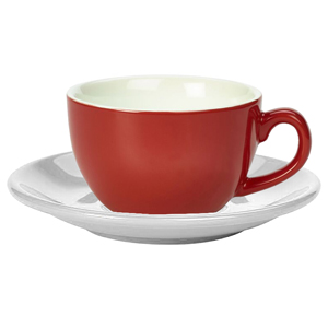 Royal Genware Red Bowl Shaped Cup and White Saucer 12oz  340ml (Set of 6)