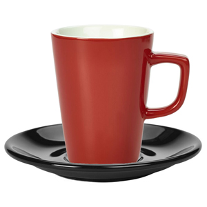 Royal Genware Red Latte Mug and Black Saucer 12oz / 340ml
