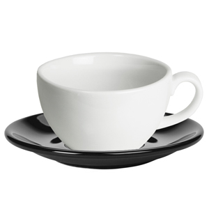 Royal Genware White Bowl Shaped Cup and Black Saucer 12oz / 340ml