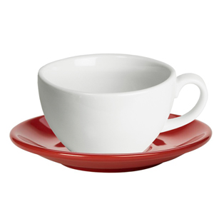 Royal Genware White Bowl Shaped Cup and Red Saucer 12oz  340ml (Set of 6)