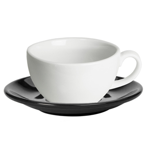 Royal Genware White Bowl Shaped Cup and Black Saucer 8.8oz / 250ml
