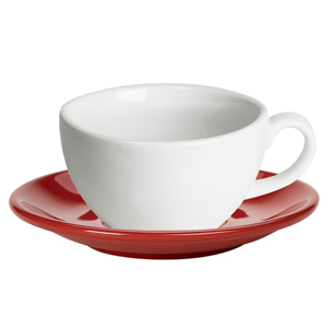 Royal Genware White Bowl Shaped Cup and Red Saucer 8.8oz  250ml (Set of 6)