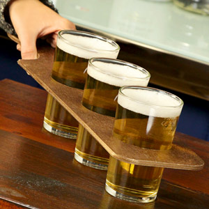 Wooden Beer Flight Paddle with 3 Conique Third of a Pint Glasses LCE