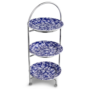 Utopia Chrome 3 Tier Cake Stand 39cm with Hope Plates 17cm