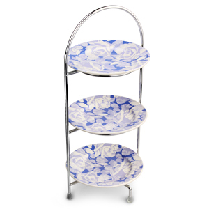 Utopia Chrome 3 Tier Cake Stand 39cm with Grace Plates 17cm