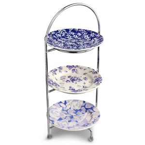 Utopia Chrome 3 Tier Cake Stand 39cm with Vintage Plates 17cm