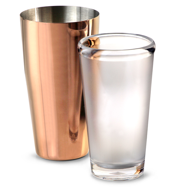 Rose Gold Plated Boston Cocktail Shaker - at drinkstuff.com