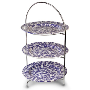 Utopia Chrome 3 Tier Cake Stand 43cm with Hope Plates 25cm