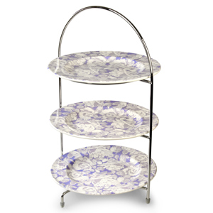 "Utopia Chrome 3 Tier Cake Stand 17"" / 43cm with Grace Plates 10""/ 25cm"