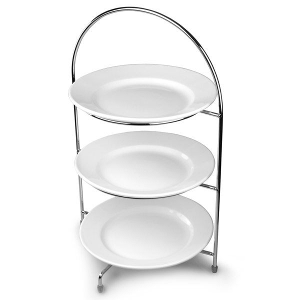 Utopia Chrome 3 Tier Cake Stand 43cm with 23cm Plates  sc 1 st  Drinkstuff & Chrome 3 Tier Cake Stand with White Plates 23cm - drinkstuff