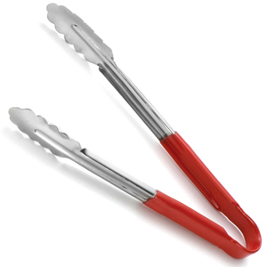Colour Coded Stainless Steel Tongs 12inch Red