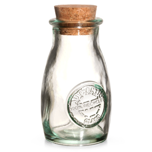 Authentic Recycled Glass Spice Bottle with Cork Lid 3.5oz / 100ml