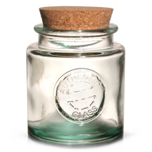 Authentic Recycled Glass Storage Jar with Cork Lid 250ml