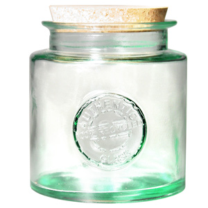 Authentic Recycled Glass Storage Jar with Cork Lid 1.5ltr