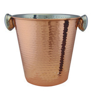 Hammered Effect Copper Plated Champagne Bucket