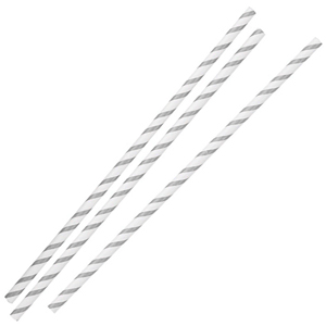 Silver & White Striped Paper Straws 8inch